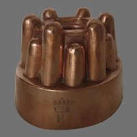 English Culinary Copper Food Mold Engraved Crown 19th Century