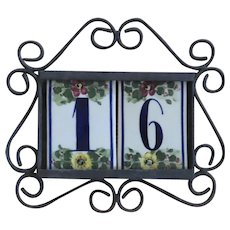 Vintage Iron House Sign with Talavara Ceramic Numbers