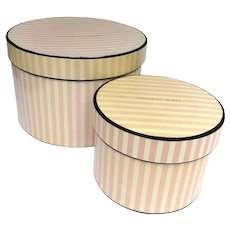 Vintage Round Hat Boxes Victoria Secret Trimmed with Velvet Storage