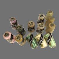13 x Vintage Lily Frost-Tone Thread Spools Cotton Yarn