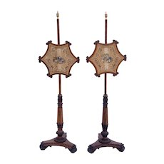 Early 19th Century Pair of English Regency Rosewood Pole Screens