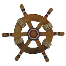 Nautical Hand Made Painted Ship's Wheel Rope Wall Decoration Children's Room