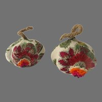 2 x Vintage Fabric Covered Squash Pumpkins Fall Thanksgiving Decorations