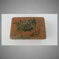 Vintage Salmon Colored Papier Mache Stamp Box
