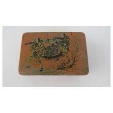 Vintage Salmon Colored Papier Mache Stamp Box