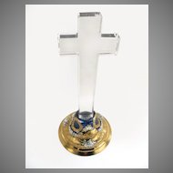 B.414 Italian Glass Cross Gold Base With Painted Flowers.