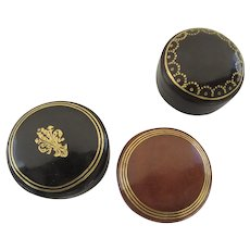 Group of Three Vintage Leather Gilt Tooled Boxes Jewelry Presention Made in Italy Italian