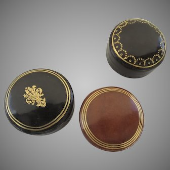 Group of Three Vintage Leather Gilt Tooled Boxes Jewelry Presention