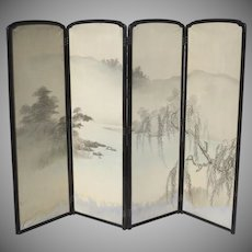 Vintage Japanese Painted Four Panel Screen with Black Lacquer Frame