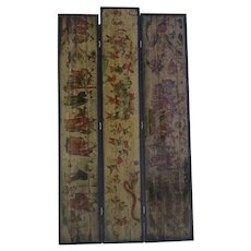 Late 19th Century Three Panel Folding Screen Chinese Trade Signs