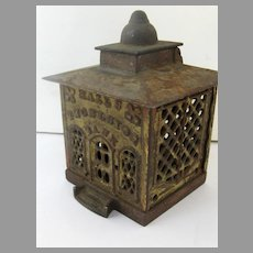 Large Cast Iron Bank with Hinge for Coin Deposit