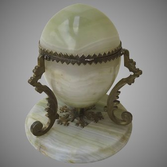 French Alabaster Lidded Egg Hinged Box with Ormolu Mounts
