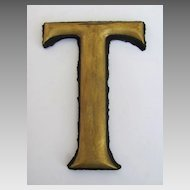 "Antique Gilt ""T"" Trade Sign Letter"