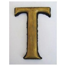 "19th Century Gilt ""T"" Trade Sign Letter"