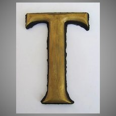 """19th Century Gilt """"T"""" Trade Sign Letter"""