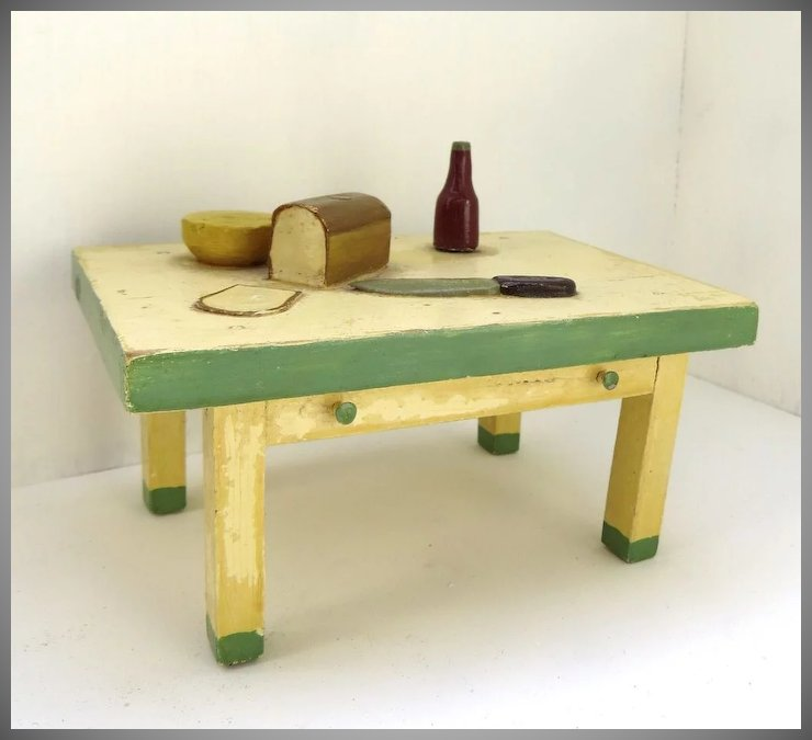 Vintage Handmade Wooden Dollhouse Table By Bristoy Black Tulip