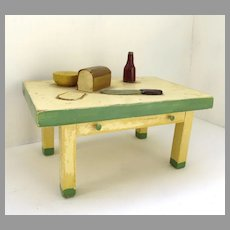 Vintage Handmade Wooden Dollhouse Table by Bristoy