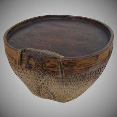 Large 19th Century Chinese Woven Willow Basket Now as Side Coffee Table