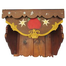Vintage Tyrolean Shelf Console Hand-Painted & Carved Wood
