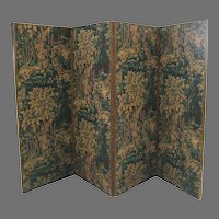 Large Four Panel Tapestry Fabric Screen Forest Tree Motifs