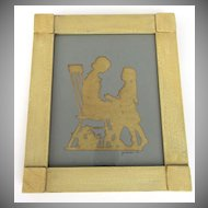 Silhouette of Mother and Child Framed Signed