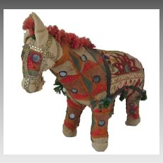 Vintage handwoven embroidered and jeweled horse made in India