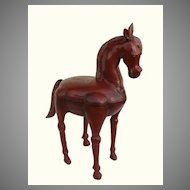 Red Lacquer Horse Sculpture from India.