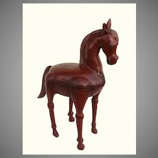 Very Large Red Lacquer Horse Sculpture from India Opens