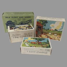 Four (4) Britain's Toy Empty Boxes Props Great Graphics Farm Milk Float Horse, Dog Kennel, Cow Feeding, Cob & Foal