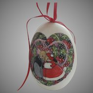 Vintage 1987 Handpainted Christmas Goose Egg Couple Field Mouse Mice Heart Love