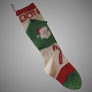 "Vintage 1960's Knit Christmas Stocking ""Donald"" Santa Mohair Beard Bells"