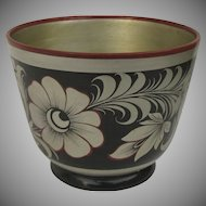 Vintage Folk Art Russian Lacquer Flower Pot Vase Bowl Khokhloma