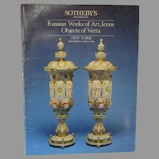 "Sotheby's Auction Catalogue ""Russian Works of Art, Icons, Objects of Vertu"