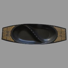 Large Vintage Georges Briard Ceramic Ashtry by Hyalyn Aztec Motif Gold Black