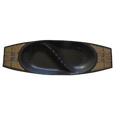 Large Vintage Georges Briard Ceramic Ashtry by Hyalyn Aztec Motif Gold Black