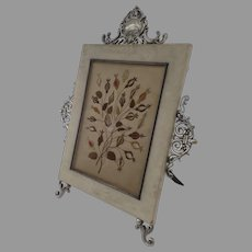 19th Century Frame with Bronze Silver Plated Mounts Embroidery by August Klein Vienna, Austria