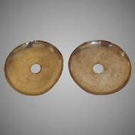 Vintage Pair Large Engraved Brass Persian Iranian Iran Bobeches Candle Cup Mid Drip Pan