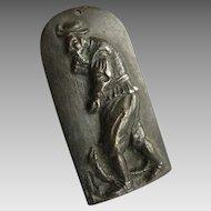 Small Bronze European Plaque Peasant