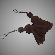 Vintage Large Pair (2) Cotton Brown Tassels