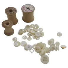 Vintage Mother of Pearl Buttons Wood Wooden Thread Spool