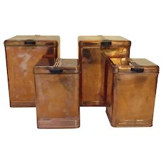Vintage Kreamer Copper Set of Four Canisters Canister