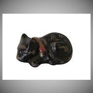 Vintage Chalk Black Kutani Kitten Cat