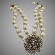 Vintage 1980's Chanel Necklace Gripoix Rhinestones