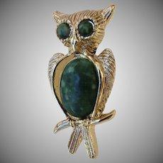 Vintage Faux Malachite Green Gold Tone Owl Pin