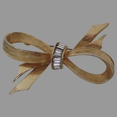 "Vintage Bow Brooch Pin by ""Pell"" Gold Tone Baguettes Rhinestones"