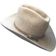 Vintage American Hat Company Felt Cowboy Western Hat Size 7 Tan Braided Leather Hat Band