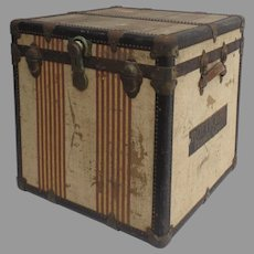 "Vintage Oshkosh ""American Symbol of Vintage Luxury Travel"" Luggage ""Chief"" Cube Steamer Trunk Train 1930's Suitcase"