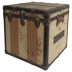 "Vintage Oshkosh ""American Symbol of Vintage Luxury Travel"" Luggage ""Chief"" Cube Steamer Trunk Train 1930's Suitcase"