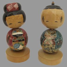 Vintage Large Pair Kosheshi Dolls Wooden Heads Move
