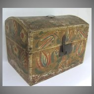 19th Century French Painted Dome Bride's Box Iron Hardware